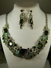 NECKLACE: + EARRINGS SWARVOSKI RHINESTONES & CRYSTALS HUES OF GREEN & WHITE