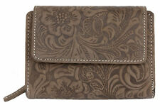 Women's medium size natural genuine leather wallet with ornamental stamping