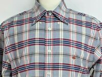 Brooks Brothers Mens M Red Blue Plaid Supima Cotton Madison Button Front Shirt