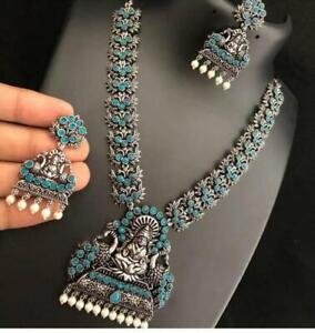 Indian Oxidized Aqua Green Temple Necklace Set with Earrings Indian Jewelry Set