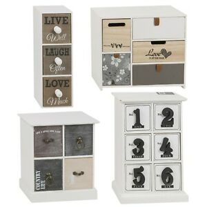 Mini Vintage Wooden Drawers Storage Cabinets Shabby Chic Cupboards Bits & Bobs