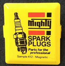 Vintage Metal Advertising Sample Magnetic Clip Mighty Spark Plugs Auto Parts