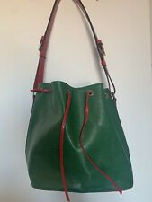 Louis Vuitton Rare Vintage Bucket Bag, Green & Red Colour, Very Good Condition,