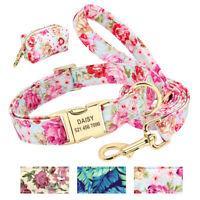 Dog Personalized Collar & Leash & Waste Bag Dispenser Set with Floral Pattern