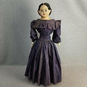"""28"""" antique papier mache & cloth German Greiner Doll w restoration 1858 label"""