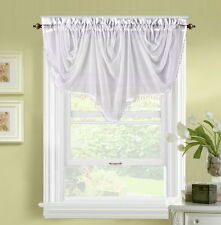 1PC VOILE SHEER SMALL HALF WINDOW CURTAIN VALANCE SWAG TOPPER W/BEADS BONITA