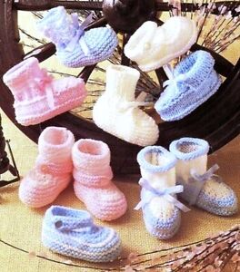 Knitting Pattern DK & 4 ply Baby Bootees Shoes Slippers 0/3 & 3/6 mths