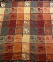 Vtg Autumn Leaves Acorn Woven Tablecloth 100% Cotton Thanksgiving Rust 50x50