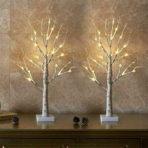 2x LED Christmas Birch Tree Light Up White Twig Tree Easter Desktop Home Decor