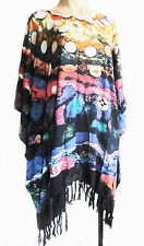 Ladies short Kaftan Poncho Tunic top beach wear fits large plus size fringed