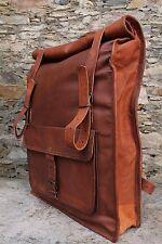 Branded Genuine Leather Rucksack Laptop Travel Backpack Roll Top Vintage Bag