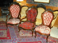 3 Victorian ROSEWOOD Belter Laminated Rosalie w/o grapes chairs