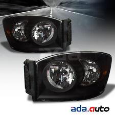 2006-2009 Dodge Ram 1500 2500 3500 Factory Style Black Headlights RH+LH Pair