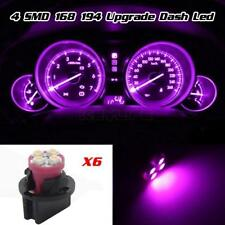 6pcs Pink Purple 194 T10 LED Bulbs W/Sockets Instrument Panel Gauge Lights