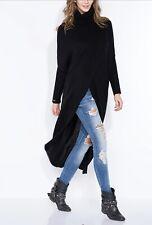 Fobya Women's Black Turtleneck Long Sweater