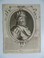 Gravur XVIII Der Armessin Porträt Roy Frankreich Childerich I Veuve Hurand 1714