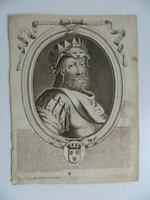 Grabado Siglo XVIII de la Armessin Retrato Roy Francia Childeric, Veuve Hurand
