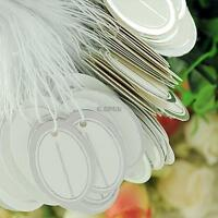 500pcs Tie-on Jewelry Display Price Tags Silver Border White Label With String