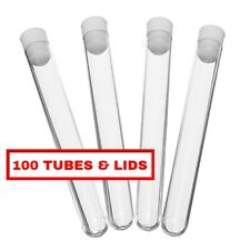 100 x Plastic test tubes, 150x16mm, complete with push caps, UK SELLER, FREE P&P