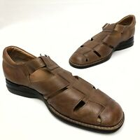 @@ Johnston & Murphy Mens Fisherman  Sheepskin Brown Leather Sandals - Sz 12 M