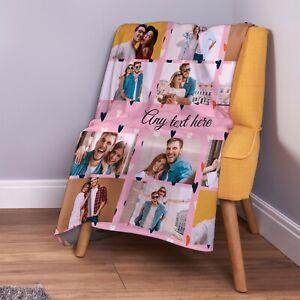 Personalised Pink Love Hearts Photo Fleece Throw Blanket
