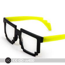 Neon Yellow Trendy Dual Color Party Clear Lens 8-Bit Bitmap Glasses 8 Bit S068