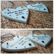 Personalised Wooden Hanging Heart Plaque 13cm Gift Sign Christening Boy Girl