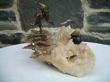 Amazing Bronze Irish Leprechaun Chasing Pot of Gold on Crystal Quartz Formation