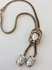 VINTAGE SELRO SELINI WHITE CARVED ACRYLIC ASIAN PRINCESS NECKLACE  UNSIGNED
