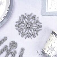 4 x SNOWFLAKE COASTERS - Felt/Silver Glitter Drink Mats -Christmas Party/Wedding