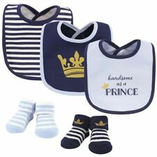 Hudson Baby 5pc Bib and Sock Set, Handsome As A Prince, 0-9 Months
