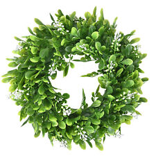Boxwood Wreath Round Wreath Artificial Green Leaf Wreath Door Wall Window Decor