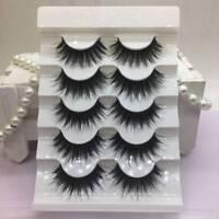 5Pairs/Set 100% Real Mink 3D Volume Corner Thick  False Eyelashes Strip Lashes M