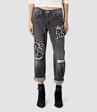 Allsaints Boys Fit Felix/Mid Grey Womens Silk Patch High Rise Jeans Size 8 26W
