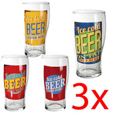 3 X DRINKING BEER GLASS 500ML PINT GLASSES KITCHEN BAR CIDER DRINK CUP NOVELTY