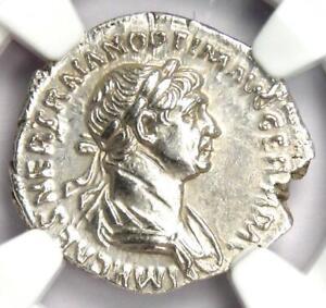 Roman Empire Trajan AR Denarius Silver Coin 98-117 AD - Certified NGC AU