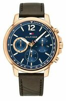 New Tommy Hilfiger Landon Men's Rose Gold Plated Leather Strap watch 1791532