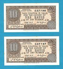 Federated Malaya States Rubber Export Coupon 10 Katis 31st Dec 1941 Consective