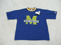 NEW VINTAGE Michigan Wolverines Shirt Adult Large Blue Basketball Mens 90s A2*