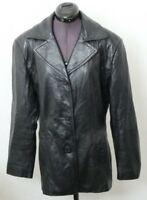 Wilsons Maxima Soft Black Leather Jacket Winter Coat Button Down Women's M