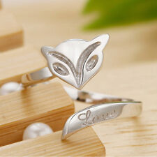1x Silver Plated Lady Finger Rings Opening Adjustable Fox Ring Jewelry -L YJ