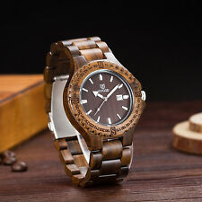UWOOD Black Sandal Wood Watch for Men Quartz Solid Wood Handmade Christmas Gift