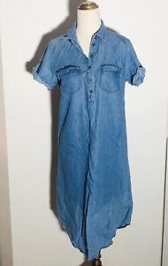 Women's Short Sleeve Denim Shirt Dress with Pockets  Size Small Blue Chambray