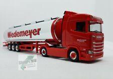 Herpa 310079 Scania CS 20 Niederdach Chromtank-Sattelzug Wedemeyer Auflieger