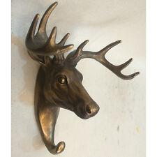 Cervo Cervo Bronzo Muro Appendiabiti Scultura Statua Arte Contemporanea Animale