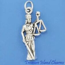 LADY JUSTICE SCALES LAW LAWYER JUDGE 3D .925 Solid Sterling Silver Charm Pendant