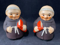 Vintage Goebel Friar Tuck Monk w/ Bible Salt & Pepper Shakers W. Germany