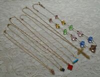 VINTAGE TO NOW ASSORTED MULTI COLOR PENDANT GOLD TONE CHAIN NECKLACE LOT