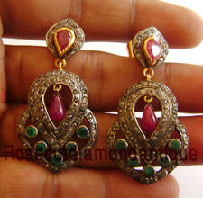 925 Vintage Emarald Ruby Wedding Earrings 2.50ct Antique Rose Cut Diamond Silver