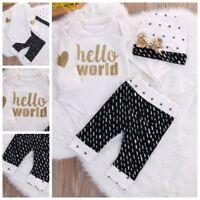 3 tlg Neugeborene Baby Body Set Hello World Geschenk zur Geburt Taufe  3-6 M 68